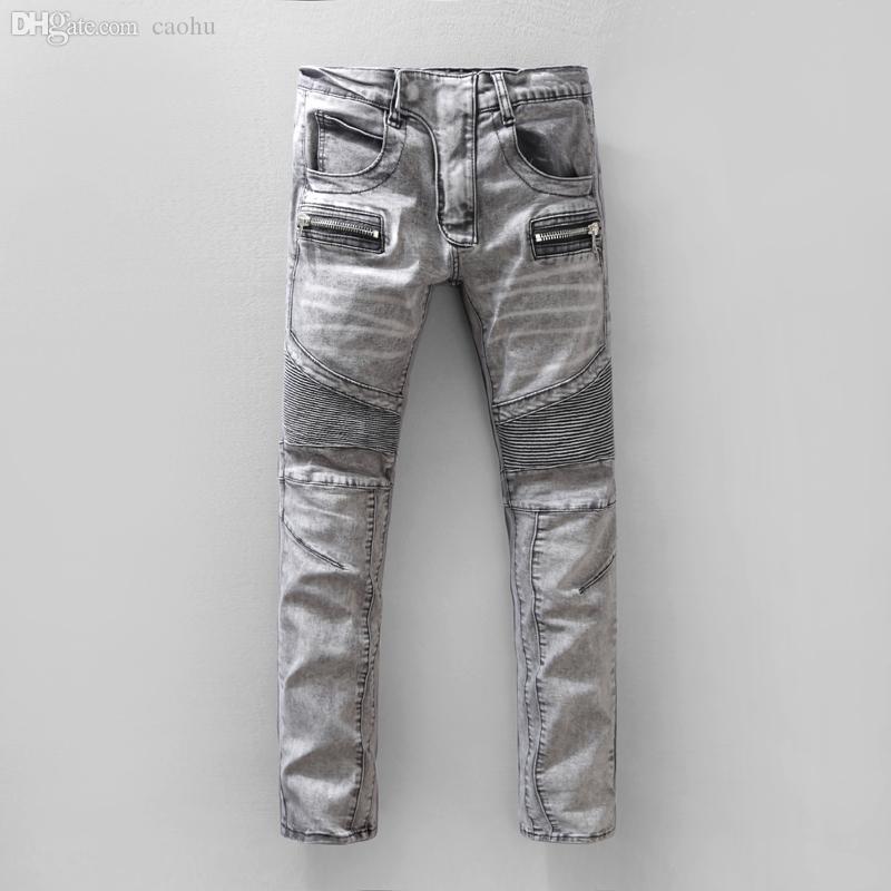 Venta al por mayor-2016 NUEVO Runway Distroyed Distressed jeans biker diseñador hombre jeans famoso marca denim jeans
