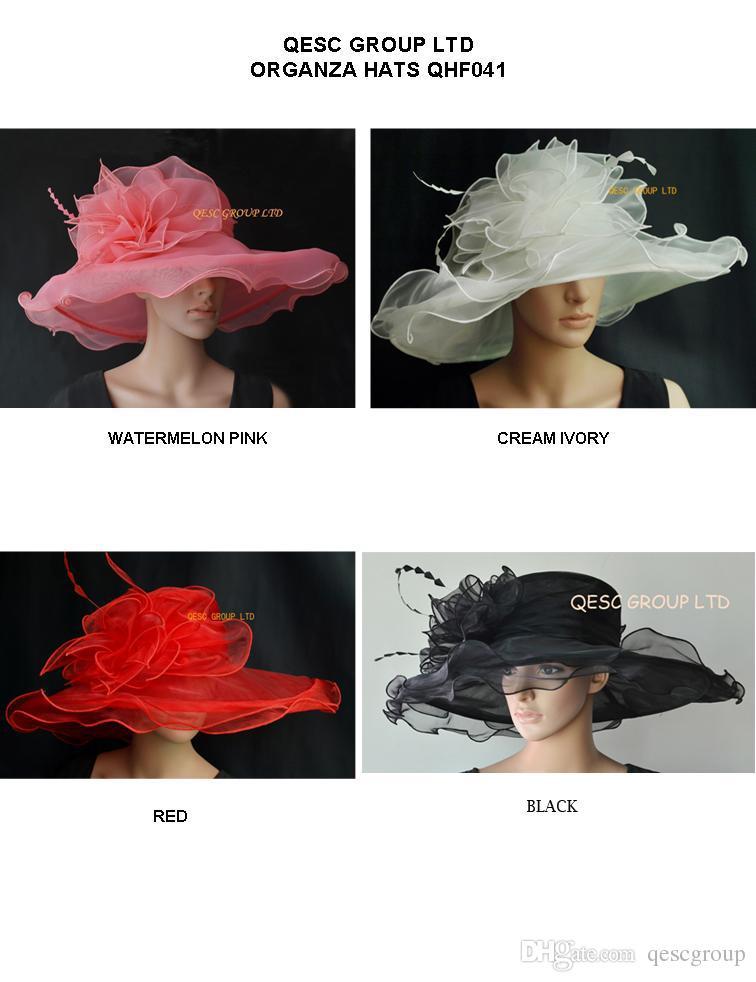 X Grote rand organza hoed met grote organza-trim en veren voor Derby, bruiloft, race.Red, ivoor, watermeloen roze, zwart.
