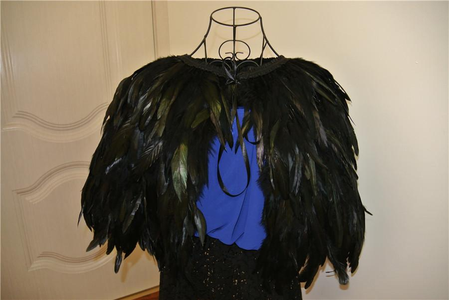 Black feather cape feather jacke rooster feather cape 5 ply Carnival feather schulter zucken schal cape