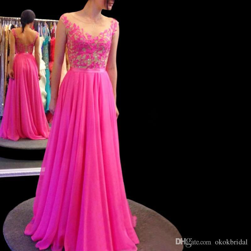 Hot Pink Chiffon Long Evening Dresses Cheap 2019 Vestidos Elegantes ...