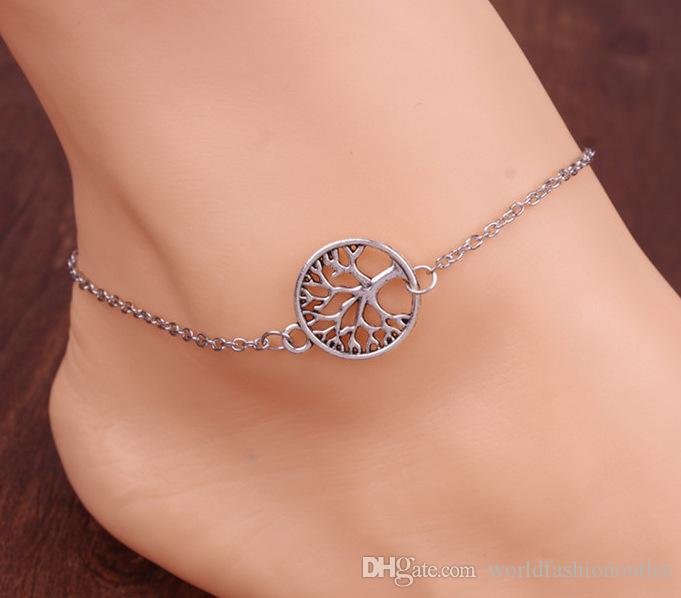 Hot life tree Chain Anklet Silver Plated Ankle Bracelet Tree Of Life Foot Jewelry for women alloy chain unique beautiful gift for friends