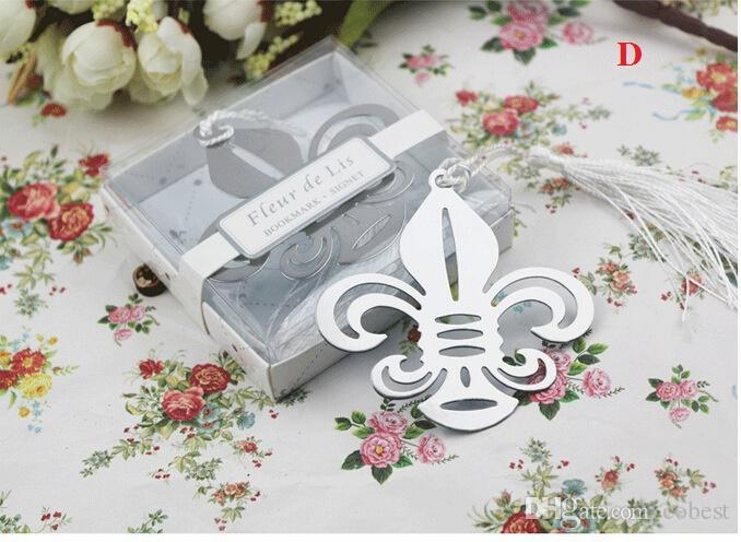 Wedding Party Gifts Stainless Steel Bookmark With Tassel Ribbon Tag Gifts Wedding Favors Can Mix Design Free Shipping