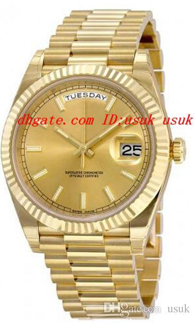 Nuovi orologi di lusso di alta qualità 40 quadrante champagne 18 carati oro giallo movimento meccanico automatico orologio da uomo 228238 orologi da polso da uomo