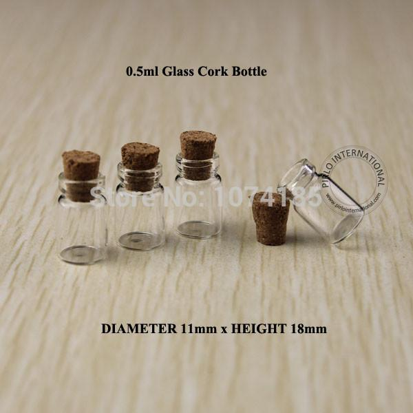 50pcs 0.5ml Glass Bottle Vials With Wood Cork Mini Bottle Vial small wishing perfume display bottle Vintage Glassware Clear