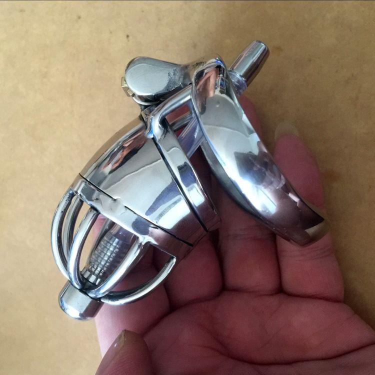 """Le plus petit dispositif masculin superbe de chasteté de la longueur 70mm d'acier inoxydable de marque avec le cathéter et la version anti-off 2.75 """"cage courte de coq pour BDSM"""