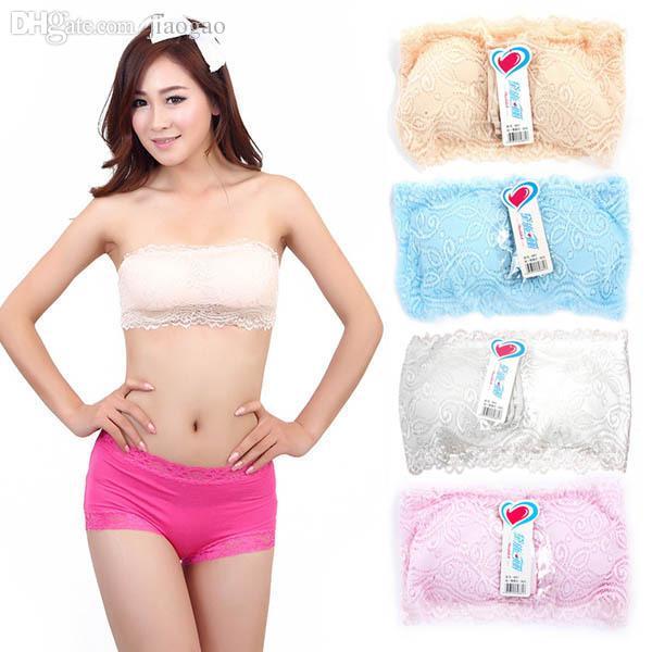 Atacado-Mulheres Lace Peito Envoltório Trecho Boob Tubo Top Bandeau Strapless Strap Acolchoado Bra