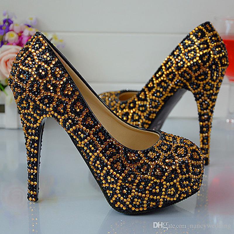 Léopard Cristal À Talons Hauts Discothèque Chaussures Strass Weddding Parti Chaussures Lady Style De La Mode De Bal Chaussures À La Main Femmes Pompes