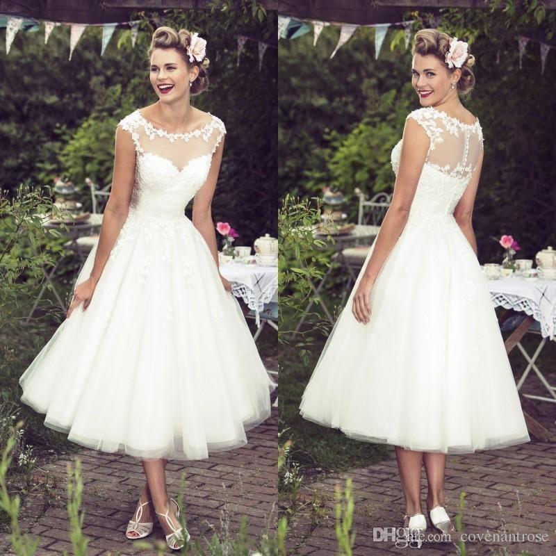 2016 Vintage Ivory Lace Wedding Dresses Tea Length Illusion Neckline Capped Sleeves Custom Plus Size Summer Bridal Gowns Cheap