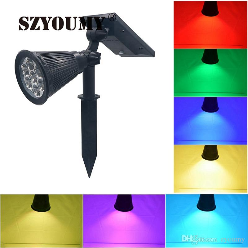 2019 E Youmy 7 Led Outdoor Lighting Solar Spotlight Auto Color Changing Waterproof Solar Powered Security Landscape Wall Light From Eyoumy 16 39