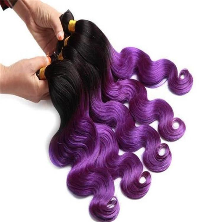 Cheap 8a T1b Purple Color Peruvian Human Hair 2 Tone Ombre Weaves
