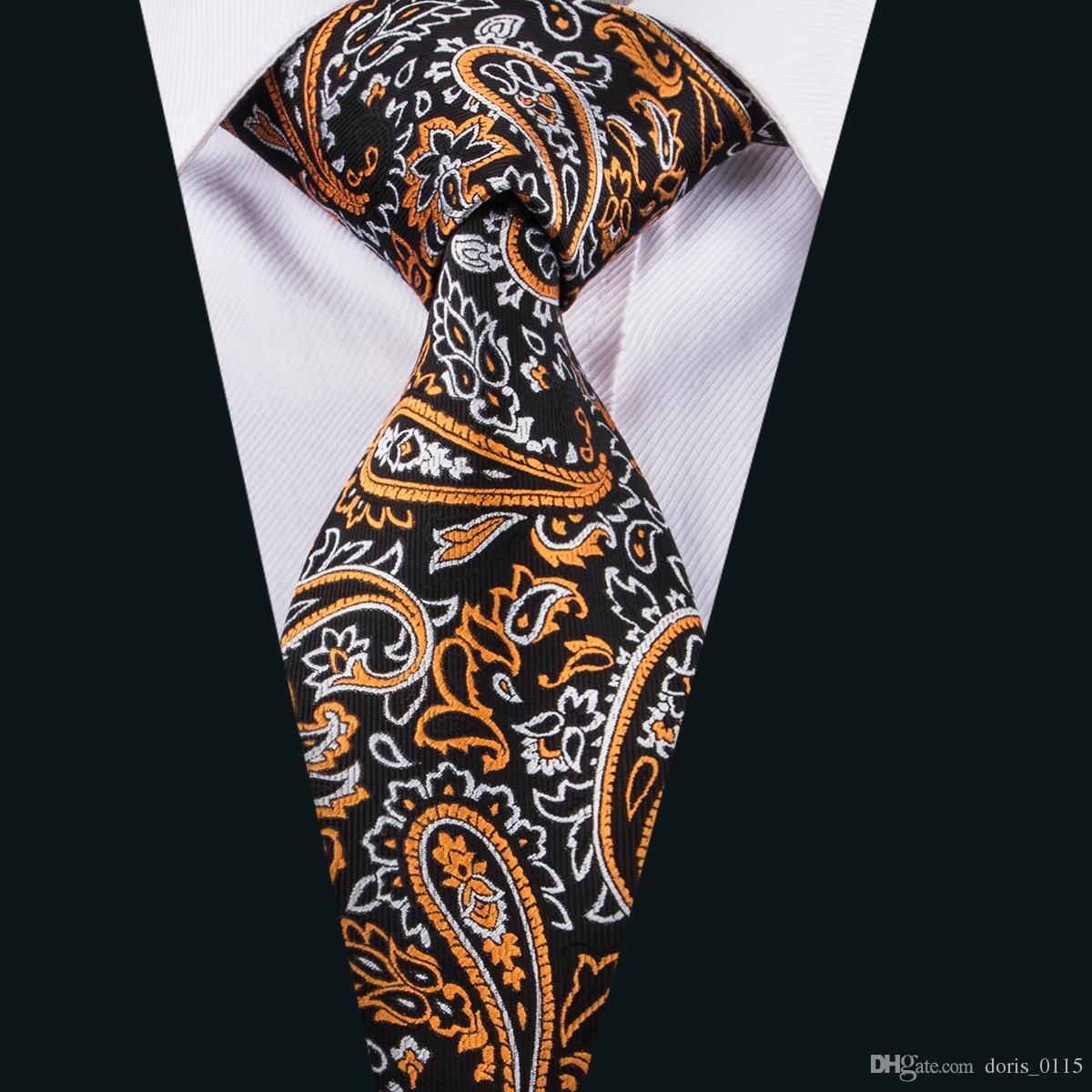 Mens Paisley Jacquard Silk Tie Set Cufflinks and Handkerchief Wedding Amazing