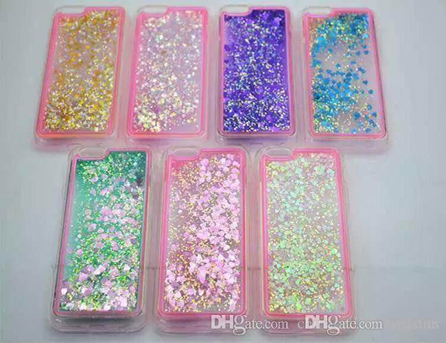 For Iphone 6/7 7Plus TUP Shining Case ForSamsung S6 S7 Edge TPU Liquid Glitter Sparkly Floating Star heart Case For LG ZTE HUAWEI SONY ECT