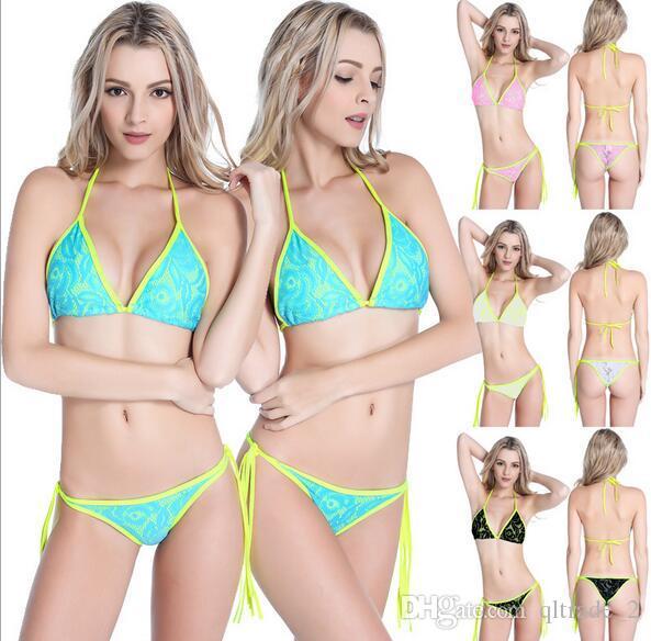 2016 nuovo bikini in pizzo sexy triangolo bikini donne costume da bagno 4 colori estate beachwear Swimwear