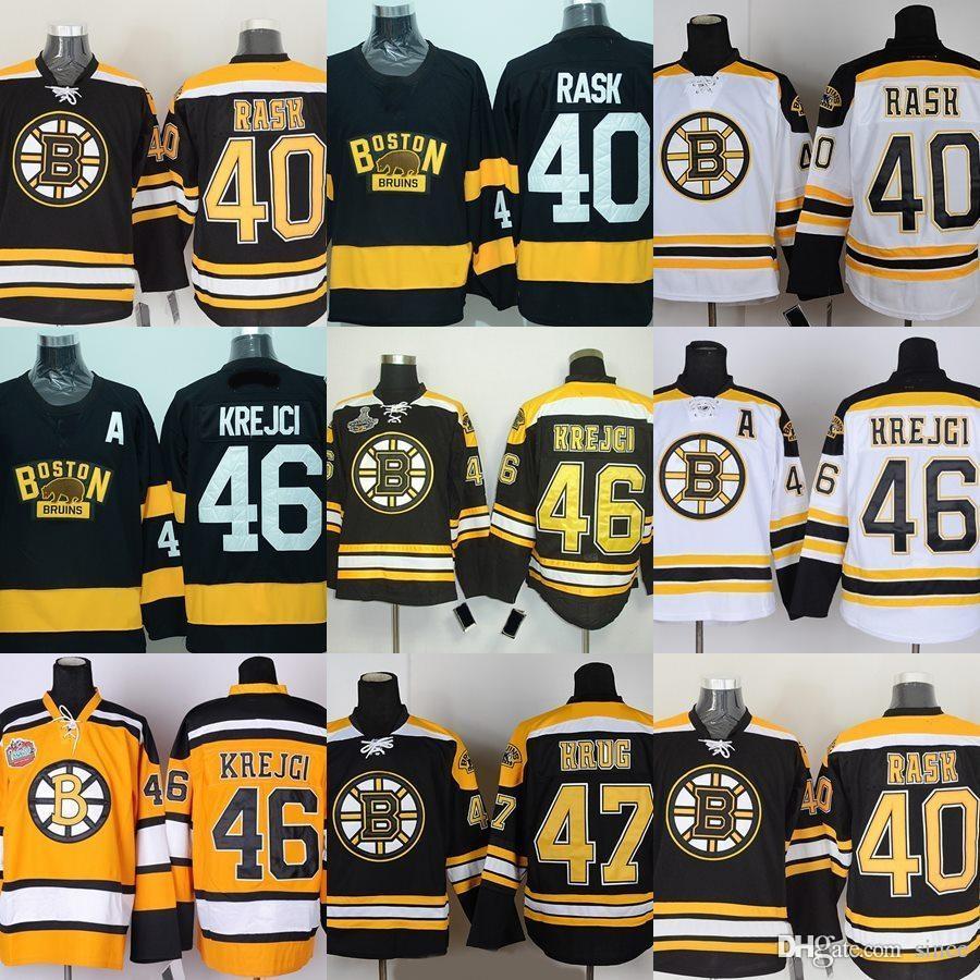 Factory Outlet -Men's Boston Bruins #40 Tuukka Rask #46 David Krejci #47 Torey Krug Black White Yellow New ice hockey jerseys Free shipping
