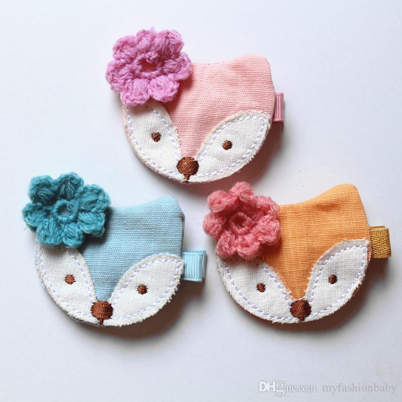 Bows Hair New Korean Style Princess Baby Girls Felt Hair Clips Bowknot 10pcs/lot Cartoon Design Fox with Wool Flower Hairpins
