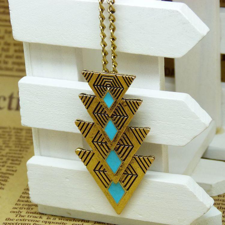 Collares pendientes de bronce para mujer triángulo retro colgante de cadena larga collar Trillion forma diseñador joyería vintage 3 colores DHL libre