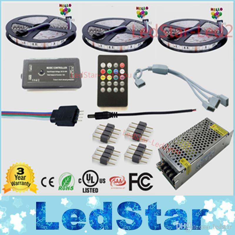 15m Music led strip Waterproof 5050 Tape Ruban 12V Flexible + Music Remote controller + Power adapter Kit Free shipping