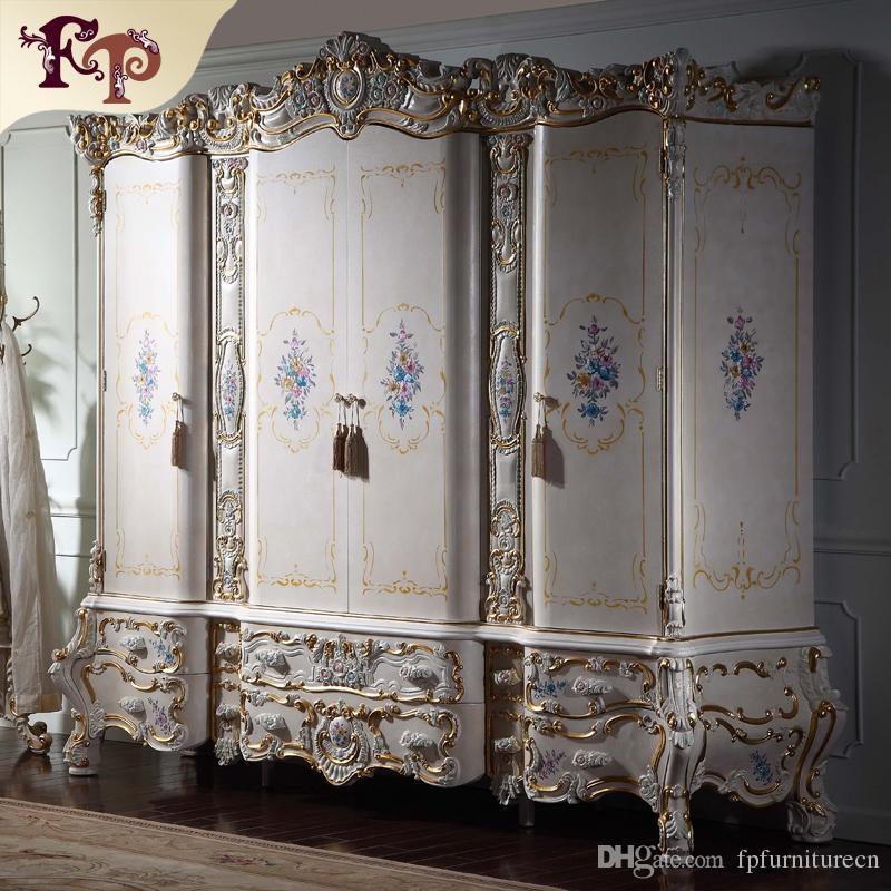 Роскошная королевская мебель для вилл в стиле барокко - Европейская антикварная мебель для спальни - роскошная деревянная резьба по дереву