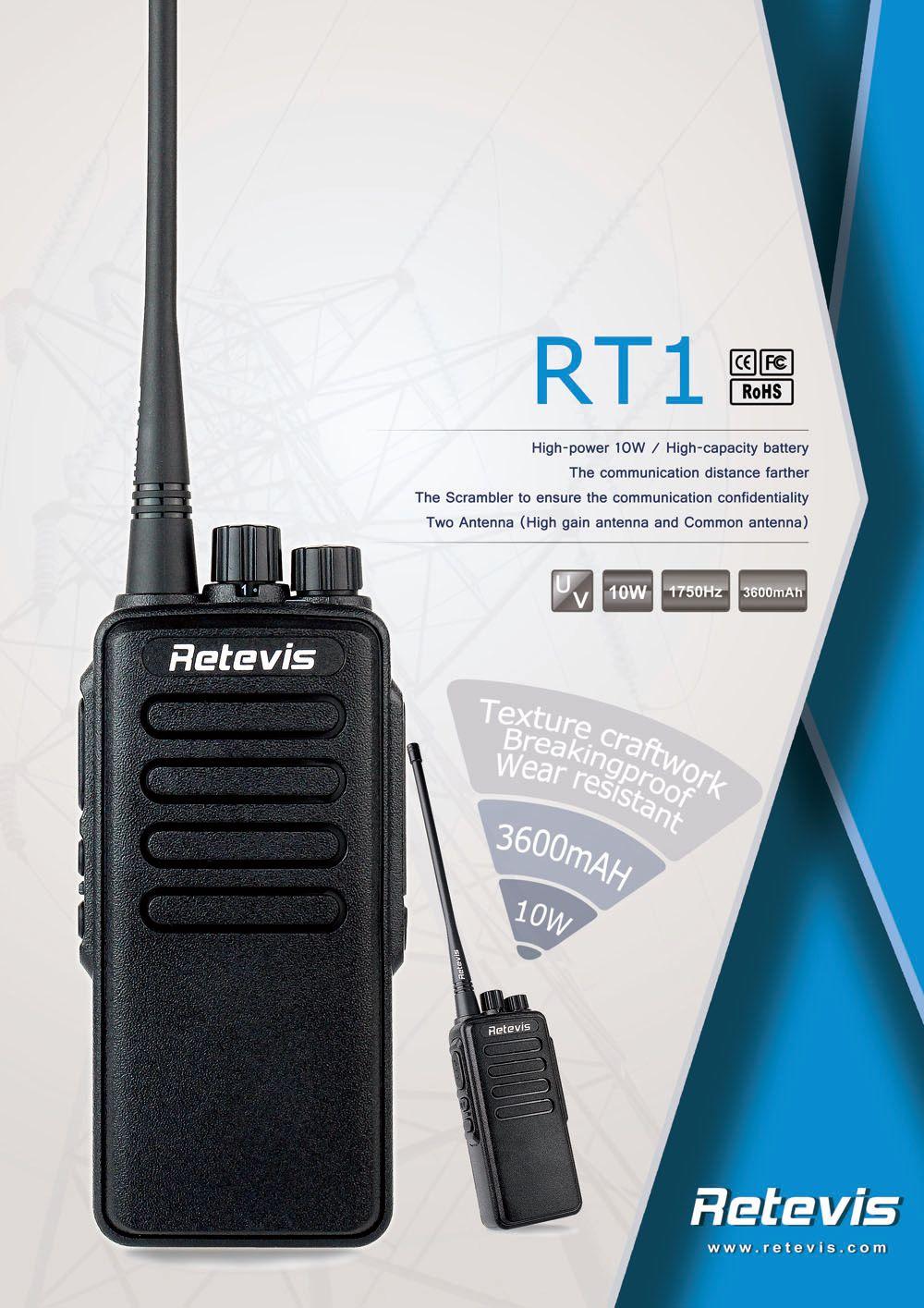 RETEVIS RT1 10W Walkie Talkie VHF136-174 MHz  Scrambler 1750Hz Two Way Radio New