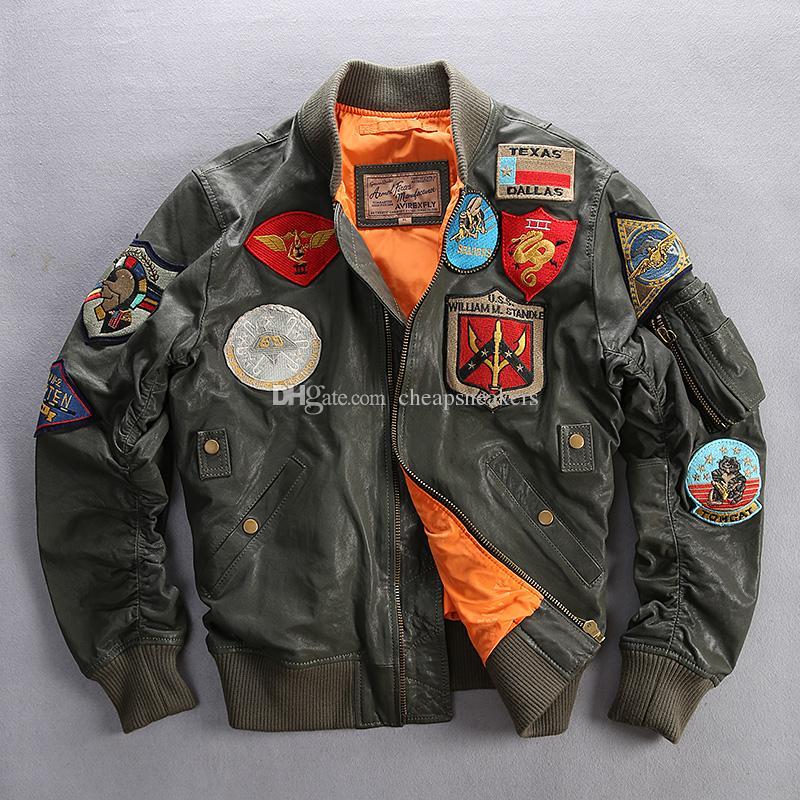 6XL AVIREX men's leather jacket sheepskin genuine leather Various military labels flight suit male baseball uniform Man motorcycle coats