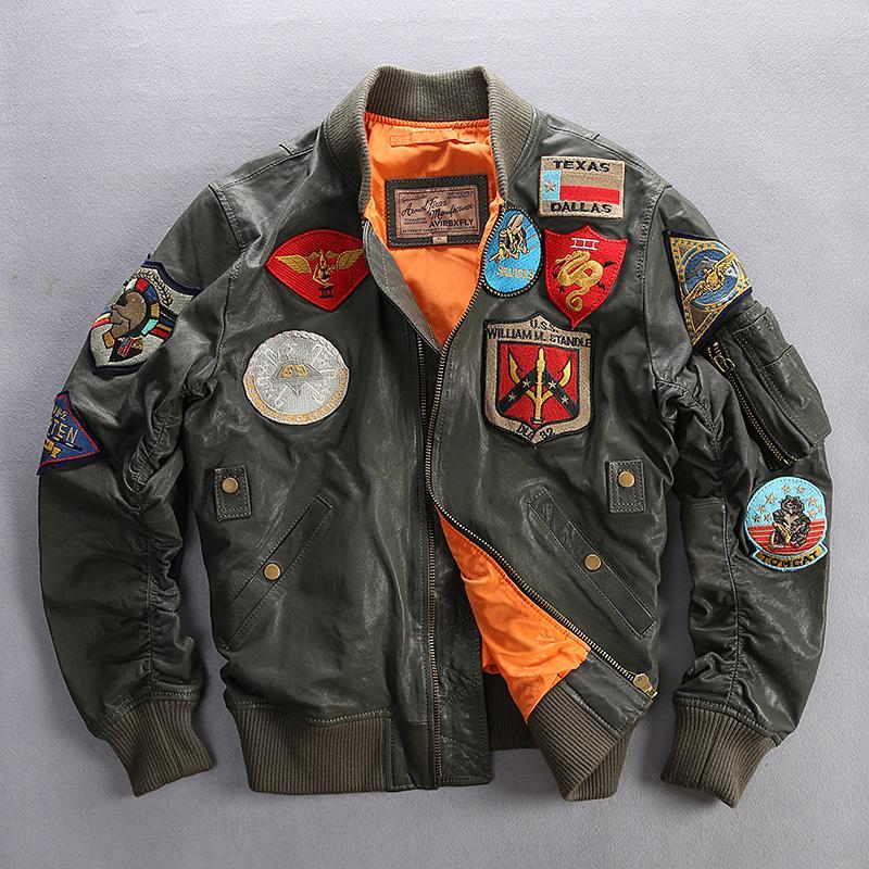 6XL AVIREX dos homens jaqueta de couro de pele de carneiro genuína de couro Vários rótulos militares terno de vôo uniforme de beisebol do homem Homem motocicleta casacos