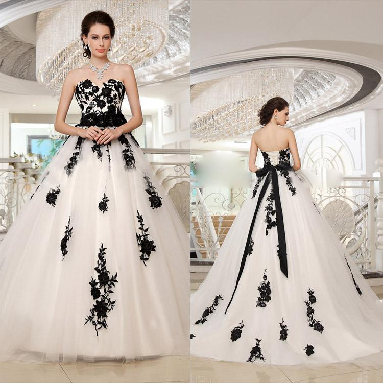 Discount Bling Black And White Wedding Dresses 2016 Formal With Lace ...