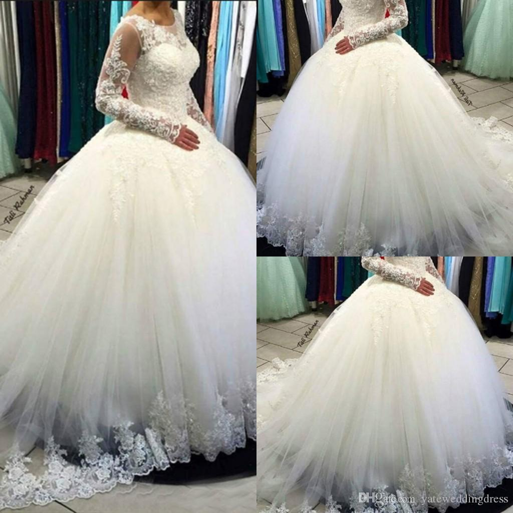Branco 2017 Vestidos de Casamento Do Vintage Jóia Mangas Compridas Com Apliques de Renda vestido de Baile Tule Tribunal Trem Vestidos de Casamento Custom Made Vestido de Noiva