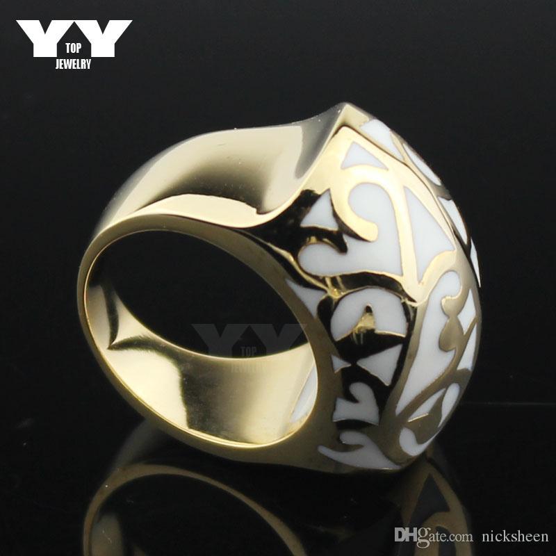 Hight qualidade de aço inoxidável 18k anéis de ouro amarelo mulheres anel de fundição legal bola forma esmalte flores brancas estilo vintage