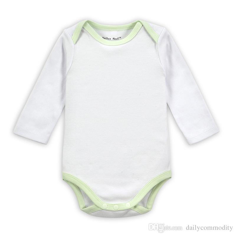 Pagliaccetto bianco con bordo verde chiaro Pagliaccetti per Pagliaccetti bambino in vendita 3M / 6M / 9M / 12M Pagliaccetto autunno cotone primavera Pagliaccetto
