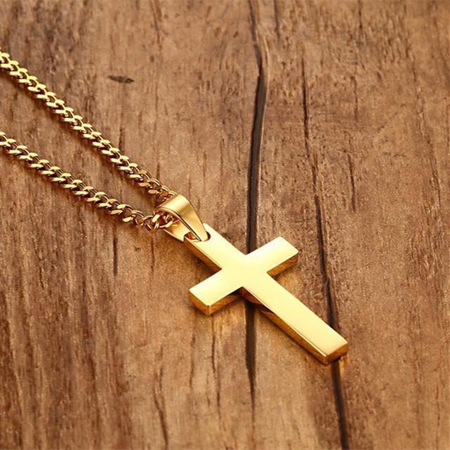 Ожерелье Мода Панк Мужской Черный Крест Подвеска Серебро Золото Черный нержавеющей стали Иисус Крест ювелирные изделия для мужчин Прохладный подарок