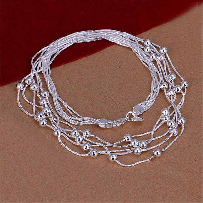 هدية عيد الميلاد خمسة خط ضوء الخرزة قلادة فضة لوحة قلادة STSN213، الأزياء 925 سلاسل الفضة قلادة مصنع بيع مباشرة