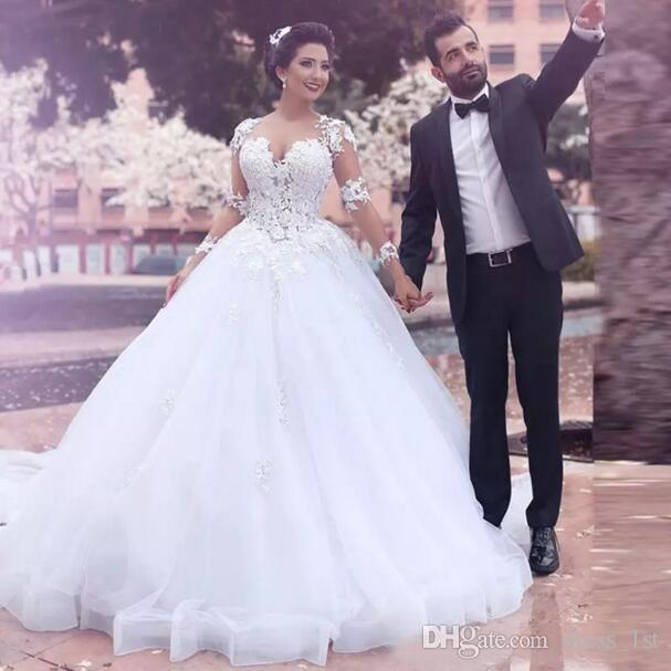Arabic Dubai White Lace Ball Gown Wedding Dresses Tulle 2017 V Neck Sheer Long Sleeves Appliqued Bridal Gowns Custom Made China EN8115