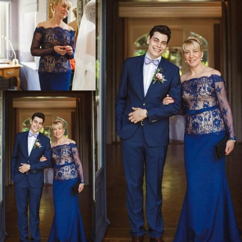 2016 신부의 우아한 플러스 사이즈의 어머니는 결혼식을 위해 숄더 레이스 아랍어 정장 이브닝 가운에서 깎아 지른 긴 소매 인어 드레스