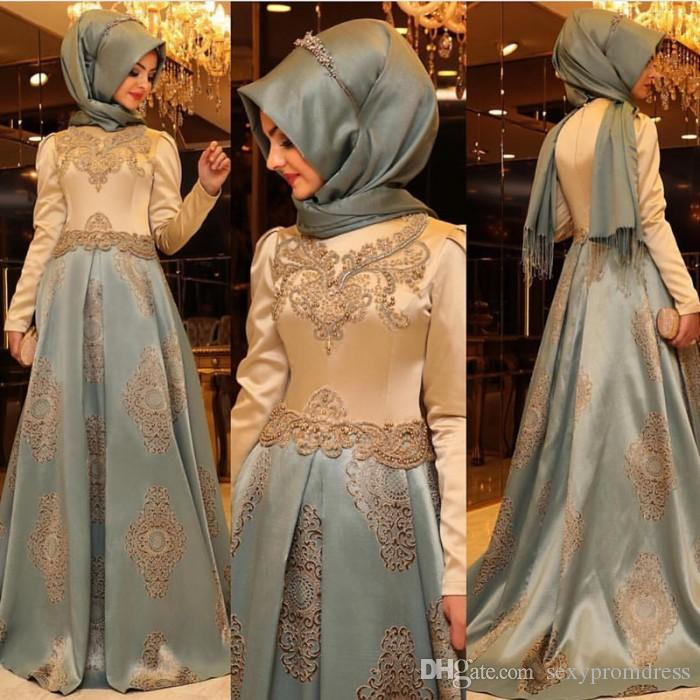 Saudi Arabia Long Sleeve Evening Dresses For Bridal Party 2016 Lace Applique A Line Prom Dresses Custom Made Zipper Back Formal Wear