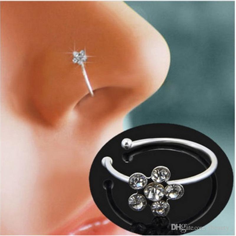 Piercing naso anello indiano fiore naso cerchio hoop falso setto clicker piercing nariz naso anelli di clip monili penetranti del corpo