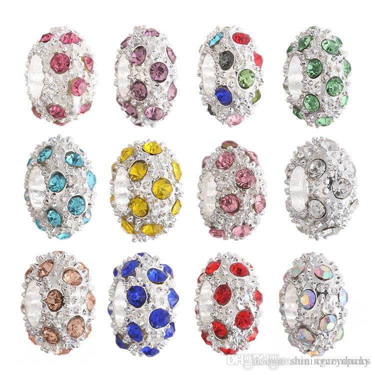 Moda DIY Contas de Cristal de Prata Rodada CZ Diamante Charme Beads Fit Pulseira Original 12 cores De Cristal De Prata Beads