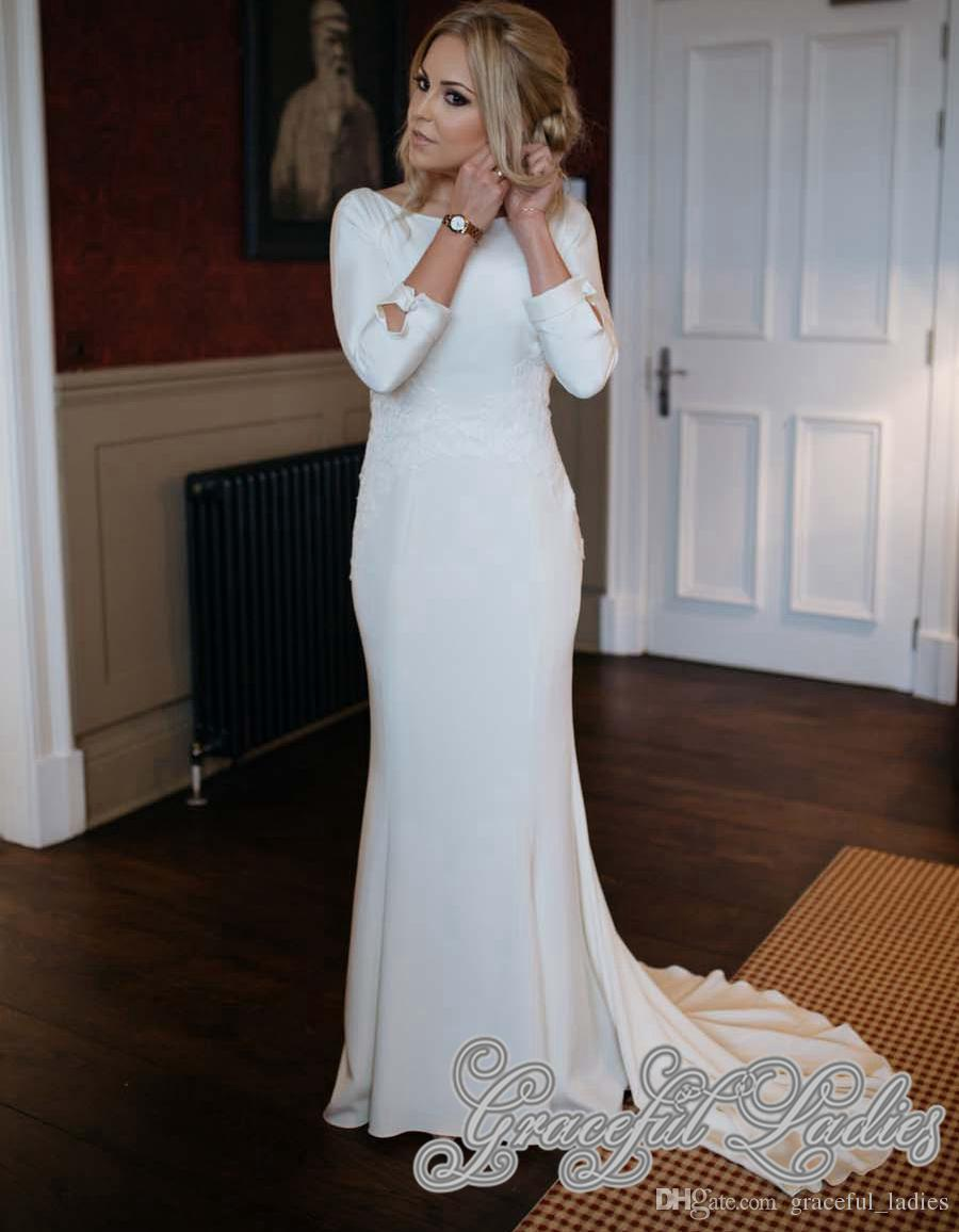 Discount Ivory Jersey Wedding Dresses With Long Sleeves Boat Neck V ...
