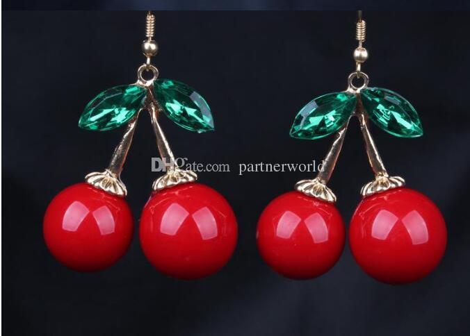 냉동 체리 매달려 귀걸이 러블리 빨간 과일 귀 스터드 크리스탈 라인 석 패션 매력 귀걸이 12pairs / lot E85