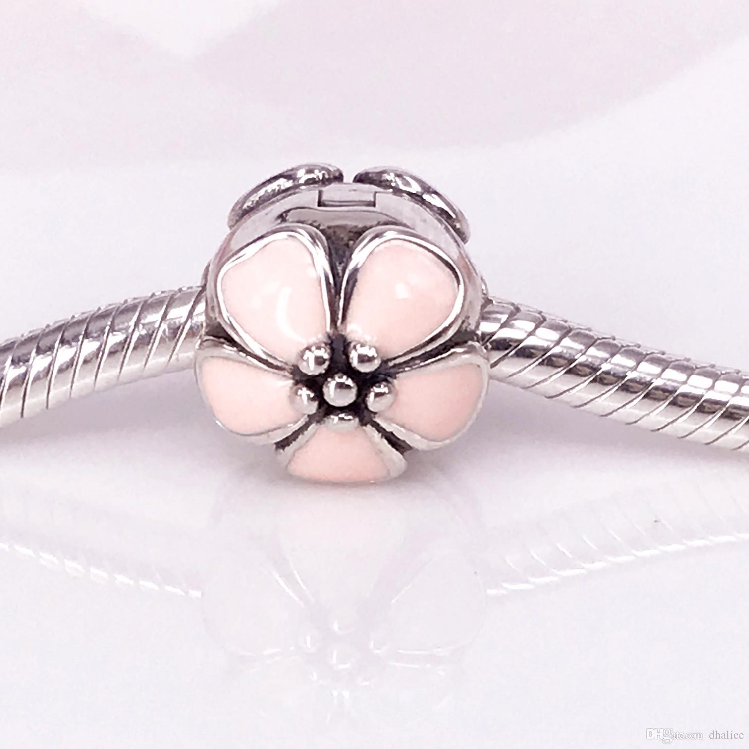 Аутентичные стерлингового серебра 925 вишни, розовый эмаль клипы подходят DIY Pandora браслет 791041EN40