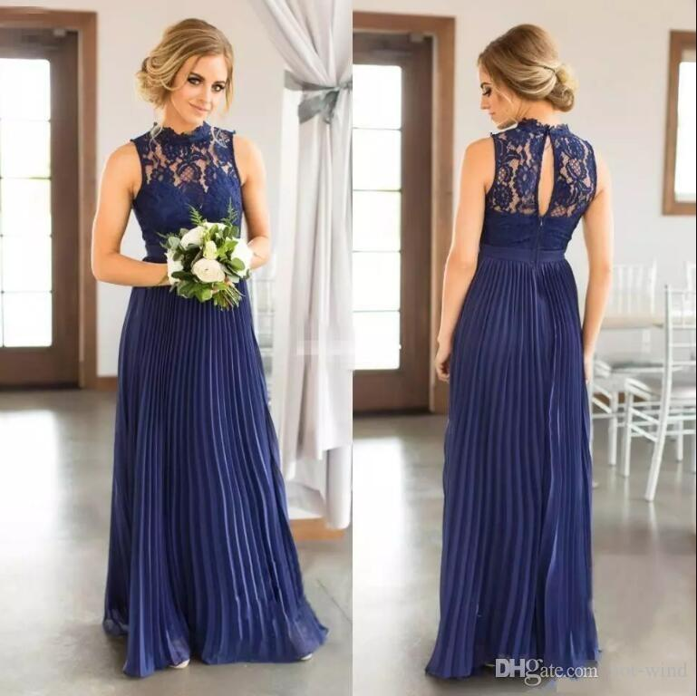 Navy Blue Boho Country Long Bridesmaid Dresses 2018 High Neck Keyhole Back Lace Chiffon Pleated Maid Of Honor Gowns Wedding Guest Dress Bridesmaid