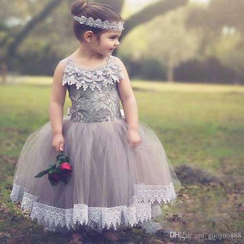 클라우드 플라워 걸 드레스 Dressed Sheer Neck Floor Length Girls 미식가 드레스 Kids Wedding Formal Wear