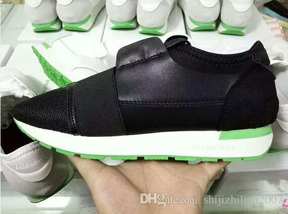 2017 Marca De Luxo Cor Misturada Unisex Sapatos Casuais Plana Confortável Patchwork De Malha De Couro Mulher Man Runner Sneakers Sapatos Ao Ar Livre