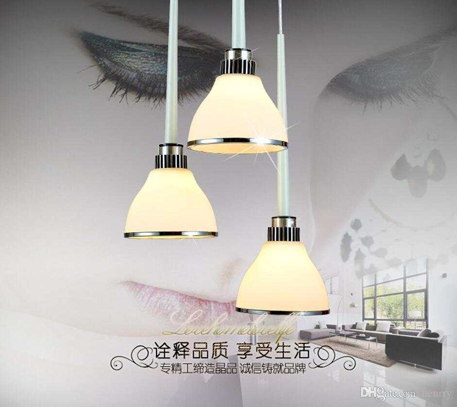 Современный минимализм три маленькие стеклянные люстры европейский арт ресторан огни бар стойки кухонные лампы матовое стекло люстры