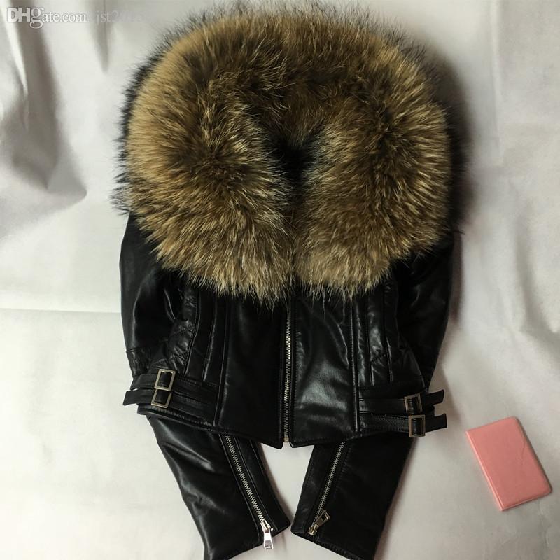 All'ingrosso-2016 moda nuovo stile giacca in vera pelle con grande pelliccia di cane di procione donne pelle vera pelle cappotto per le donne