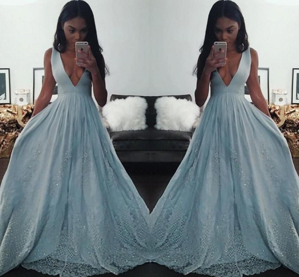 Girl Prom Dresses 2016 Deep V Neck