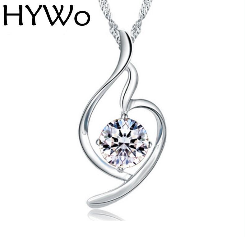 Ciondolo bianco / viola senza catena Ciondolo in argento sterling 925 CZ Collana Donna nuovo stile femminile Clavicola Europa Cristallo tenero