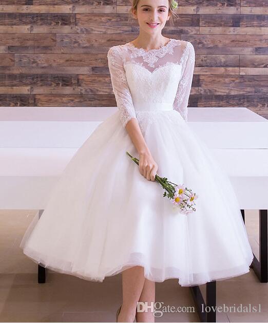 Wedding Dress Short Lace Tulle Jewel