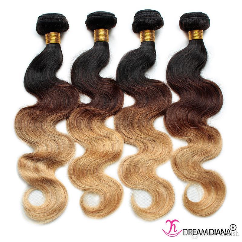 Ombre Capelli umani Tessure Body Wave 3 o 4 Bundles Three Tone 1b 4 27 # Capelli vergini brasiliani Ombre Estensioni dei capelli Ombre Bundle spesso