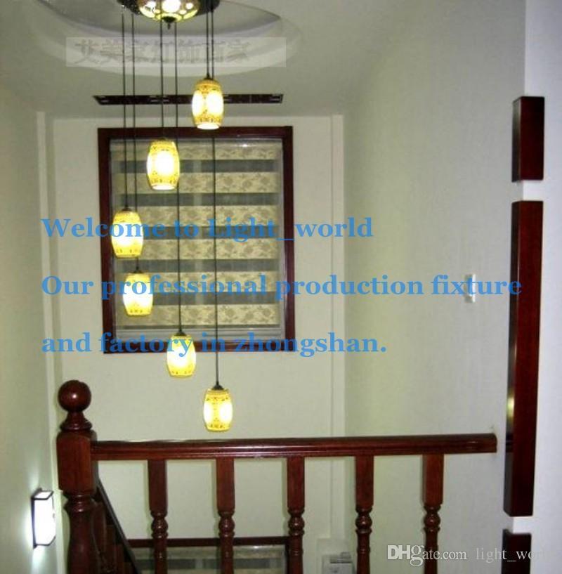 chinese style lamp pendant light ceramic stair pendant light rotary