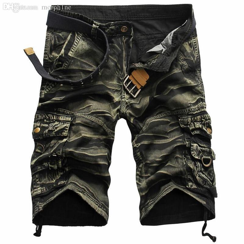 Wholesale-New 2016 Brand Men's Casual Camouflage Loose Cargo Shorts Men Large Size Multi-Pocket  Short Pants Overalls 8 colors